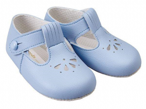 Lovely Baypods Baby Boy Blue Pram Shoes with Holes